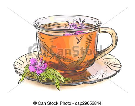 EPS Vector of Tea with rosebay willowherb in glass. Isolated on.