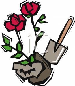 Shovel and a Rosebush Clip Art Image.