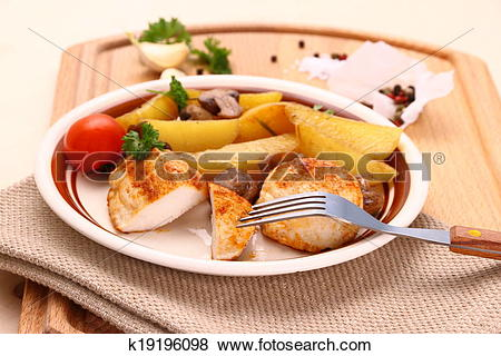 Pictures of Chicken fillet with rosemary potatoes an mushroom.
