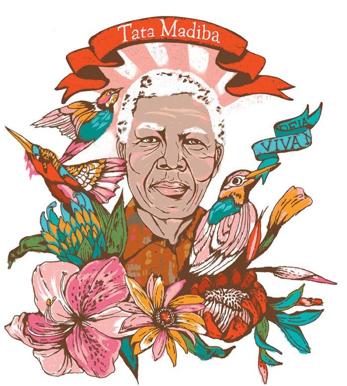 Portrait of Nelson Mandela by Kim Rosen.
