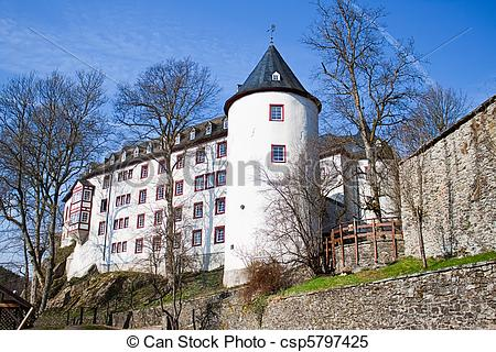 Stock Images of The castle was Bilstein 1202 to 1225 built on the.