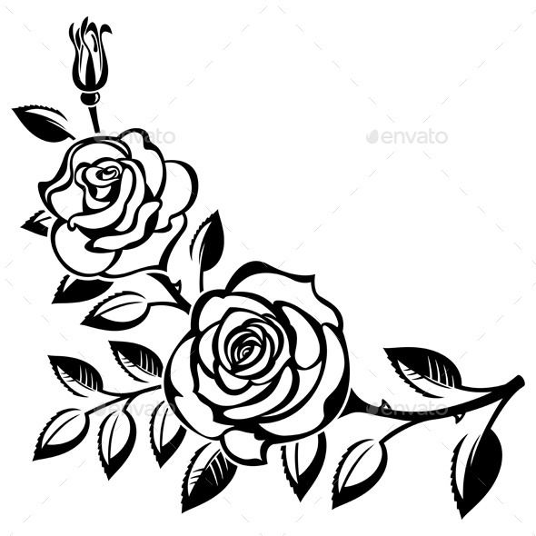 41+ Roses Clipart Black And White.
