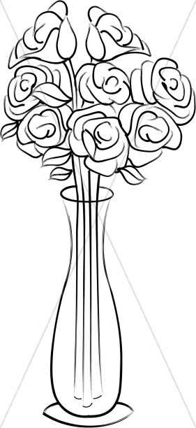 Roses in a Tall Vase.