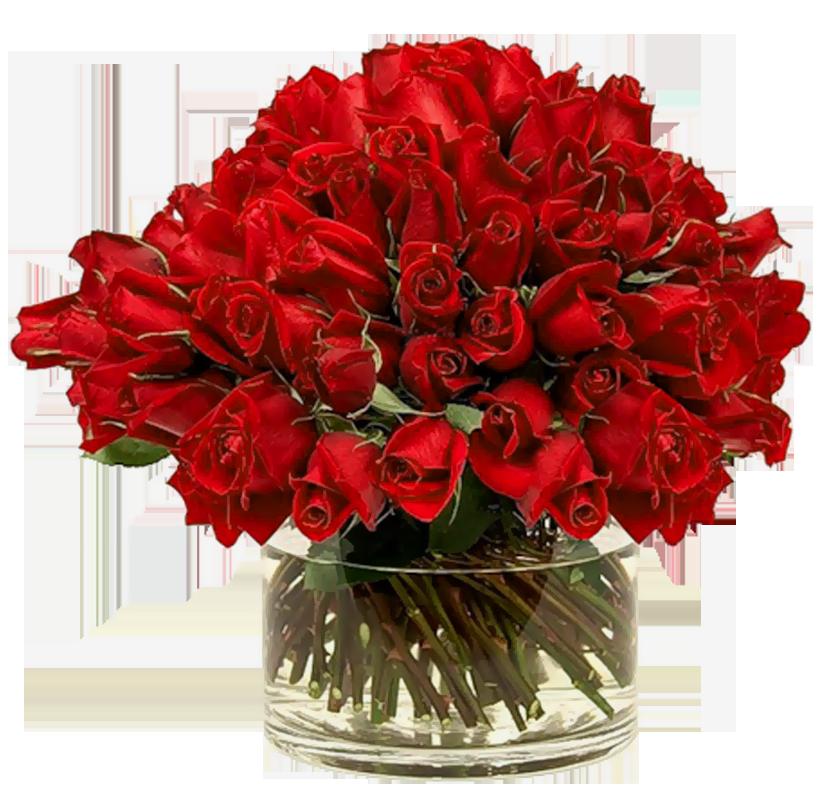 Transparent Red Roses in Vase.
