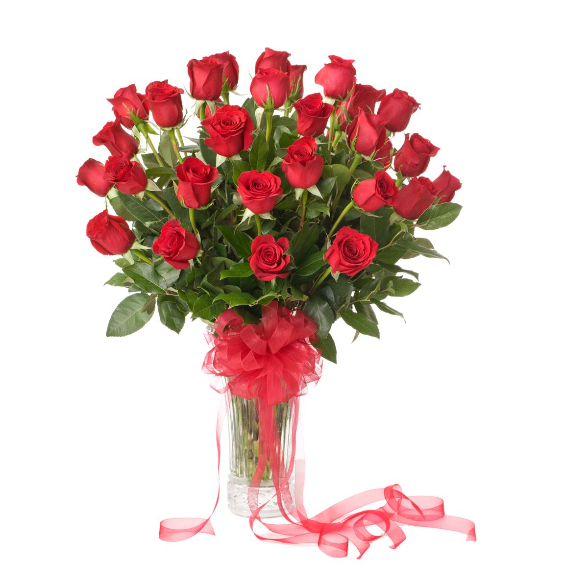 50 Red Roses Arranged in Vase.