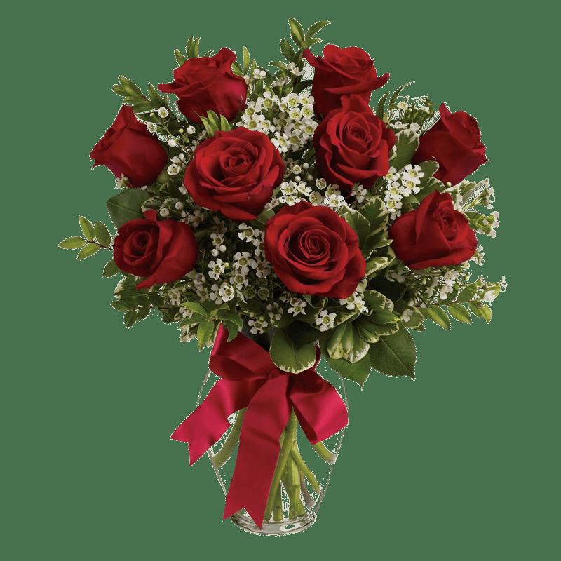 Vase of red roses transparent image.