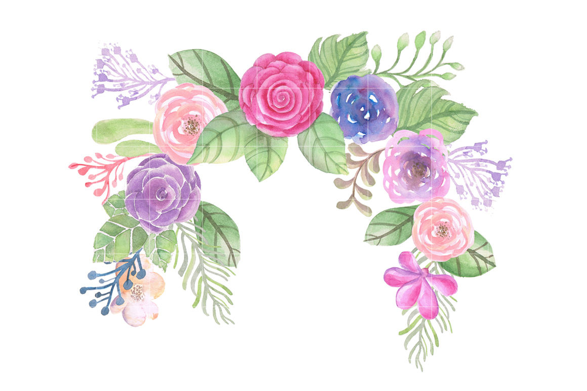 Watercolor Flowers Wreath Clipart By FOXYdigitalart.