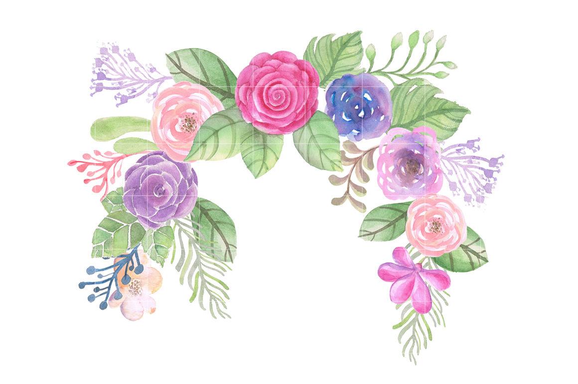 Watercolor Flowers Wreath Clipart By FOXYdigitalart.