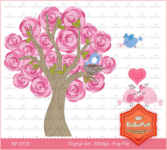 Instant Downloads Valentines Hot Pink Rose Tree and by BaBaPuff.