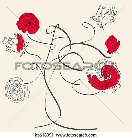 Clipart of Rose tree k5518091.