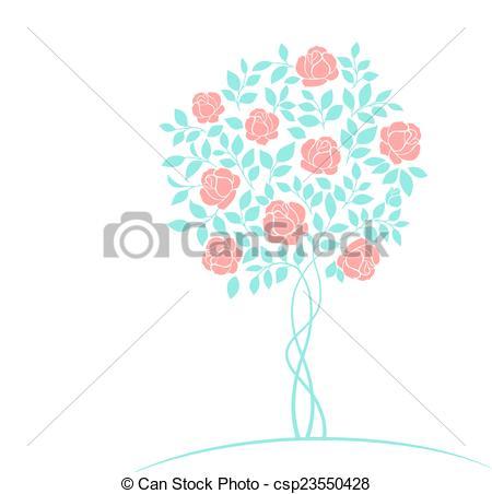 Vector Illustration of Rose tree logo..