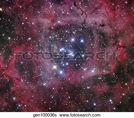 Stock Images of NGC 2244, the open cluster within the Rosette.