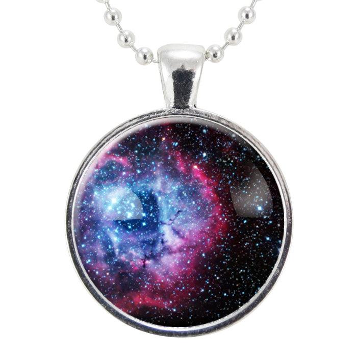 Rosette Nebula Necklace Galaxy Jewelry Universe Pendant by rainnua.