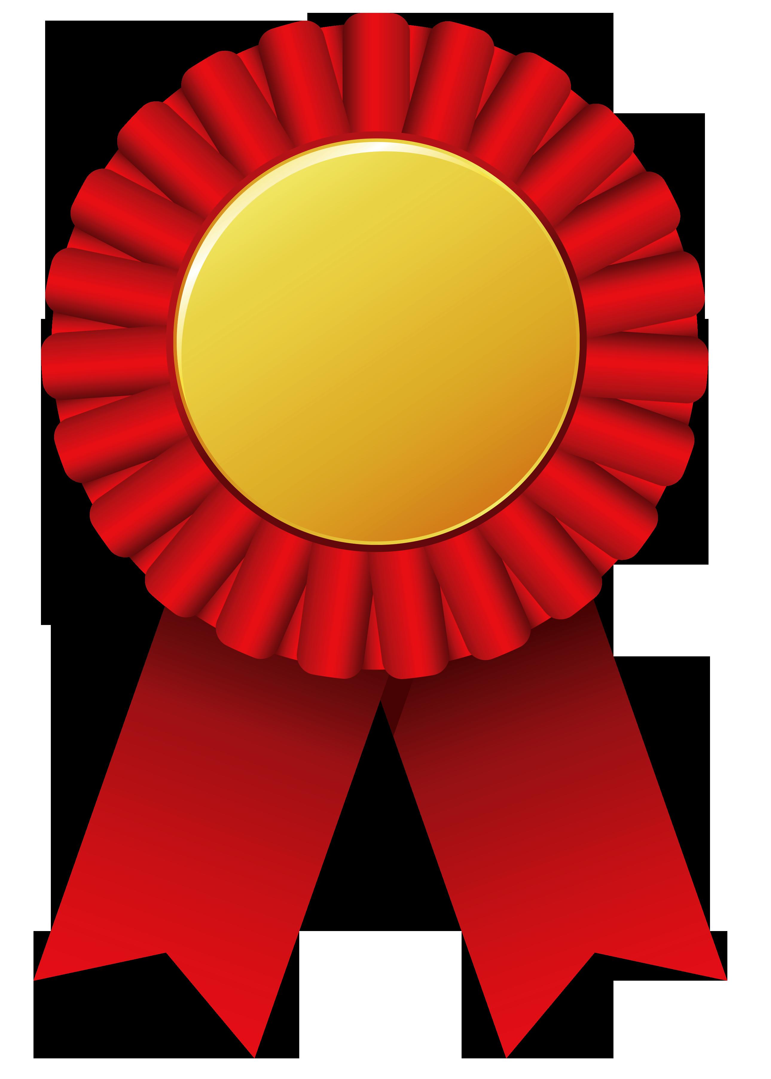 Red Rosette Ribbon PNG Clipar Image.