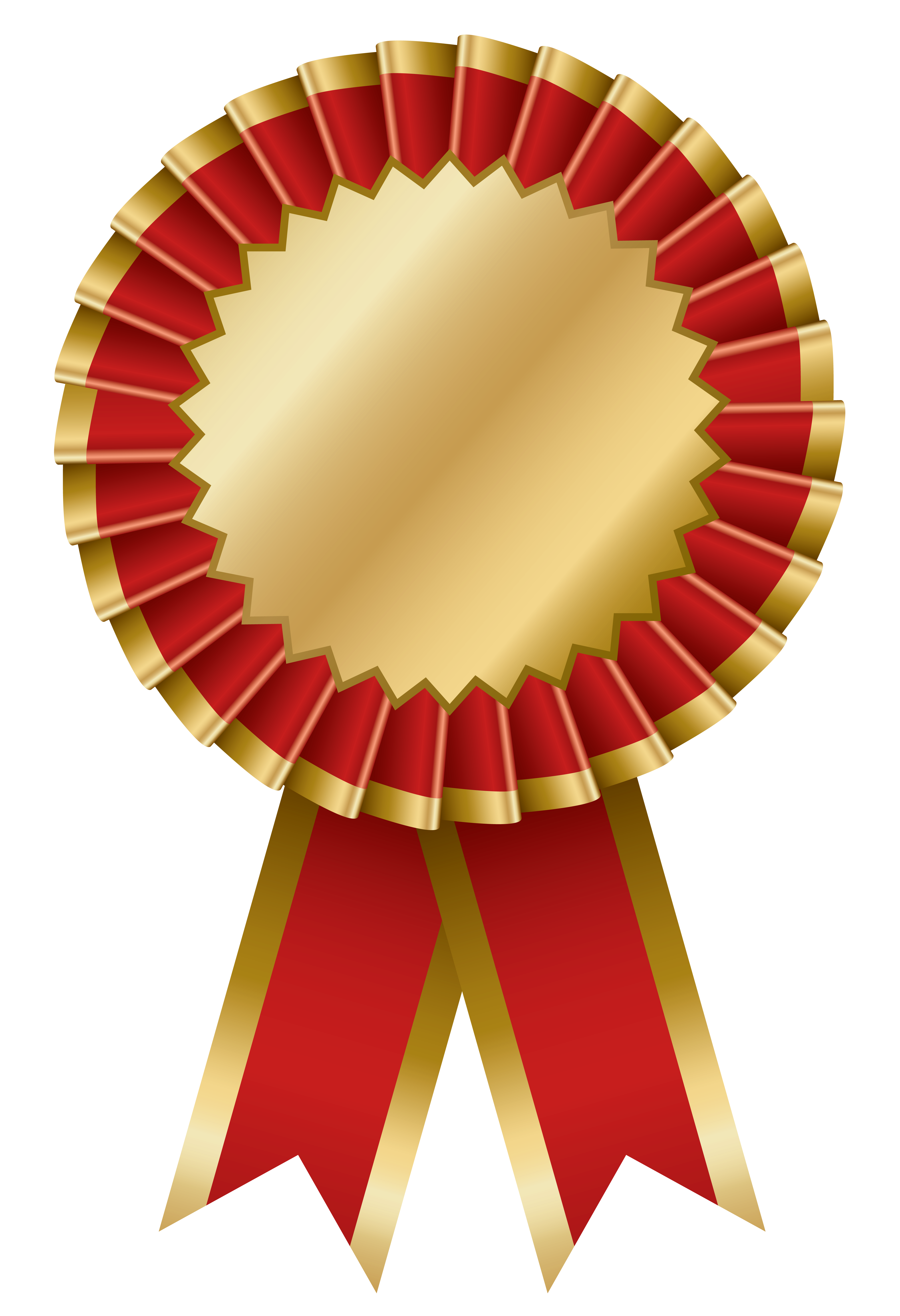 Red and Gold Transparent Rosette Ribbon PNG Clipart.