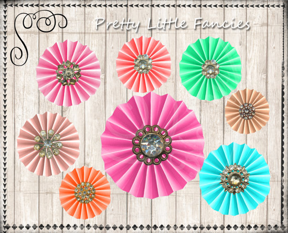 8 Digital Rosette Flowers Jewels Clipart by prettylittlefancies.