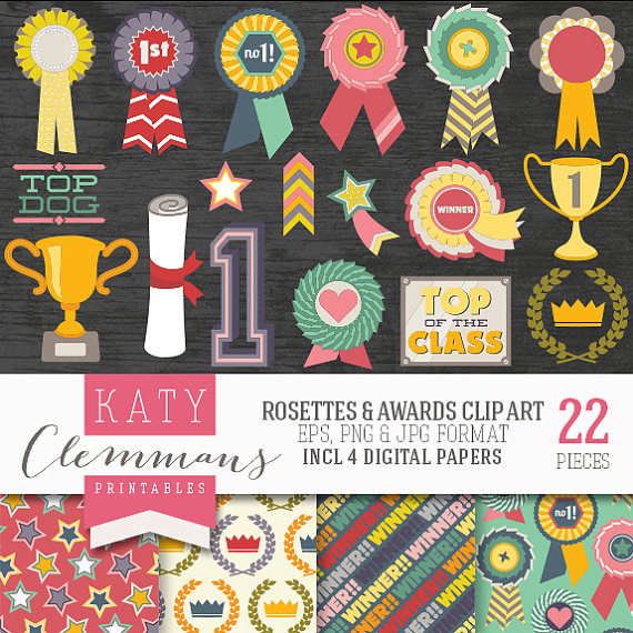 ROSETTES & AWARDS clip art with digital paper pack. Printable.