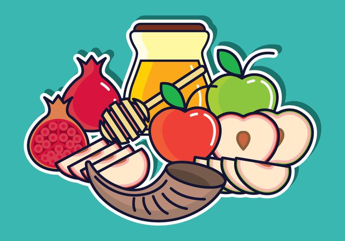 Rosh Hashanah Vector Illustration.
