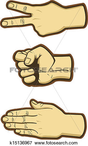 Clip Art of Rock Paper Scissors Hand Signs k15136967.