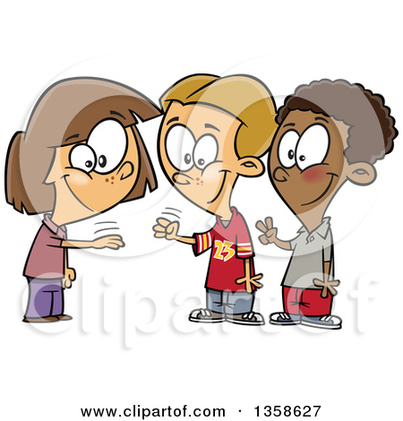 Clipart of a Cartoon Girl and Boys Playing Rock Paper Scissors.