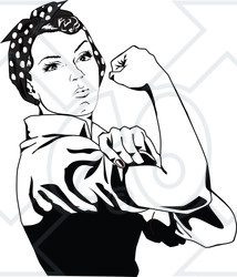 Clipart of a Black and White Rosie the Riveter Flexing and.