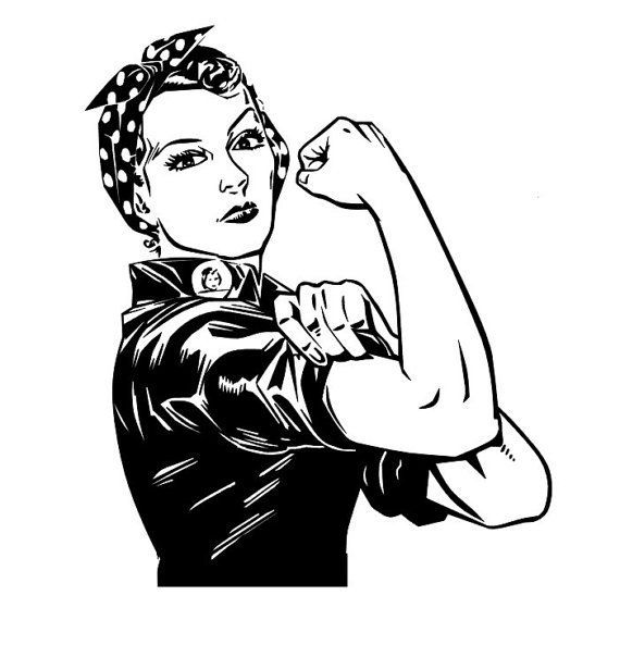 Image result for black and white rosie the riveter graphic.