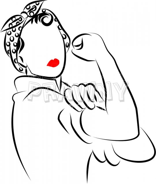 Rosie the Riveter Prawny Black and White People Clip Art.