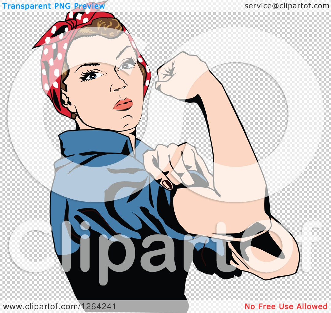 Clipart of a Rosie the Riveter Flexing and Facing Right.