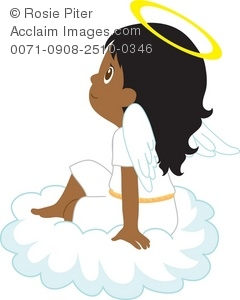 Clip Art Illustration Of A Little Girl Angel Sitting On A Cloud.