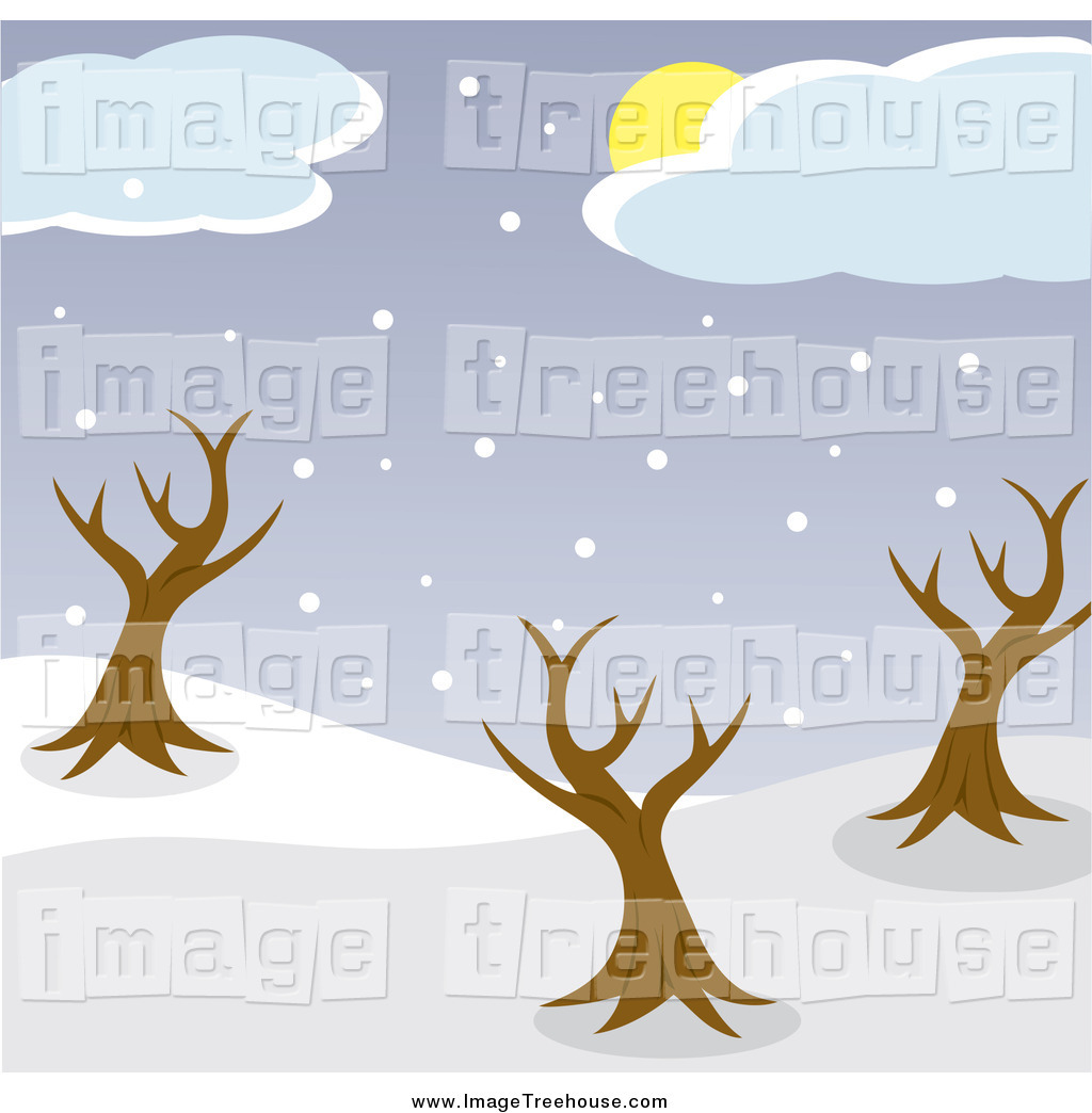 Clipart of a Sun Behind Clouds Above Snow and Bare Trees in a Park.