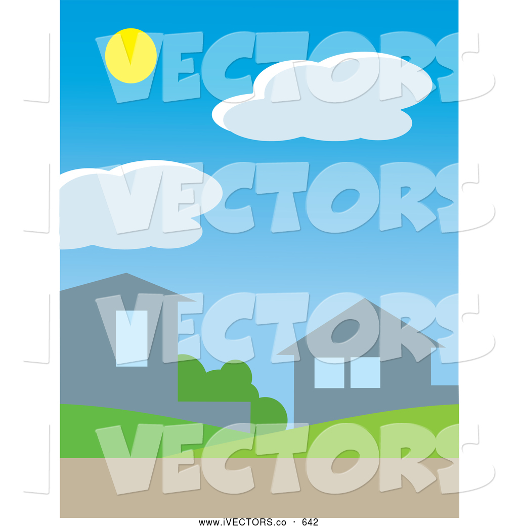 Vector Graphic of the Sun Above Clouds in a Bright Daytime Sky.