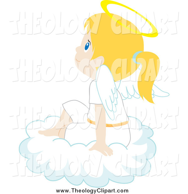 Clip Art of a Blond White Angel Girl Sitting and Thinking on a.