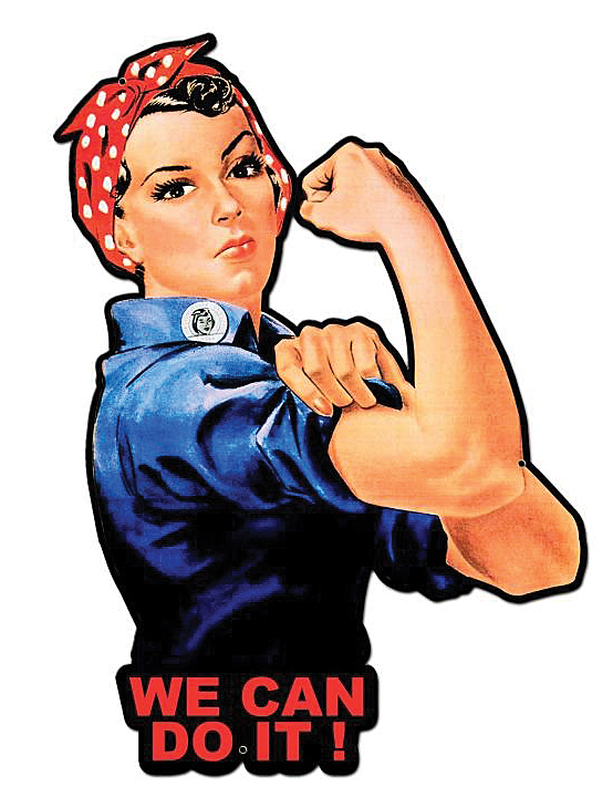 Rosie the Riveter Cutout Metal Sign.