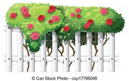 EPS Vector of A white wooden fence with flowering plants.