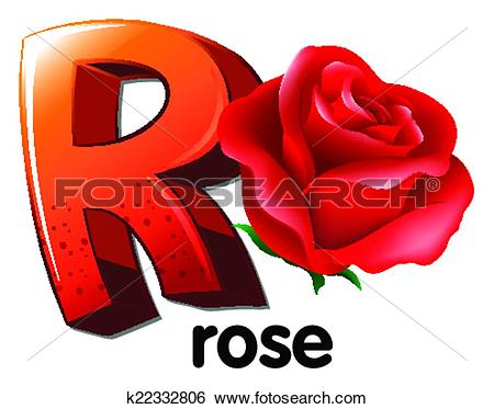 Clip Art of A letter R for rose k22332806.