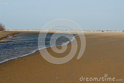 Boundary Between Sea And River Stock Photo.