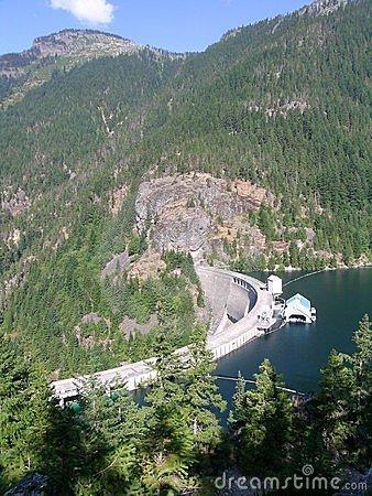 Ross Lake Dam Stock Photo.