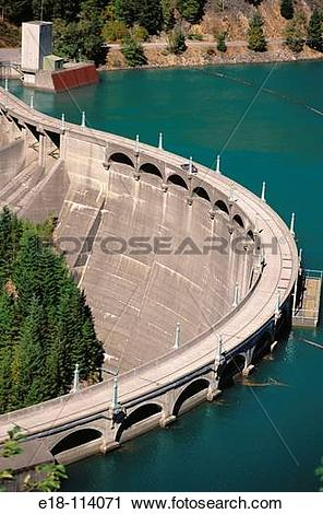 Stock Photography of Diablo Dam on the Skagit River, Newhalem.