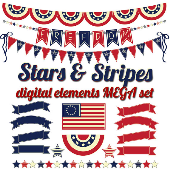 July 4th Clip Art, Teacher clipart, Red, White, and Blue banners.