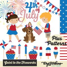 July 4th Clip Art, INSTANT DOWNLOAD, Red, White, and Blue banners.