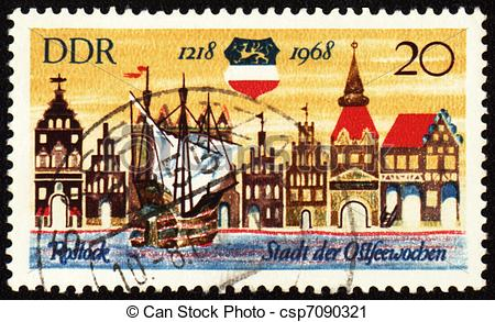 Clipart of Old German town Rostock on post stamp.