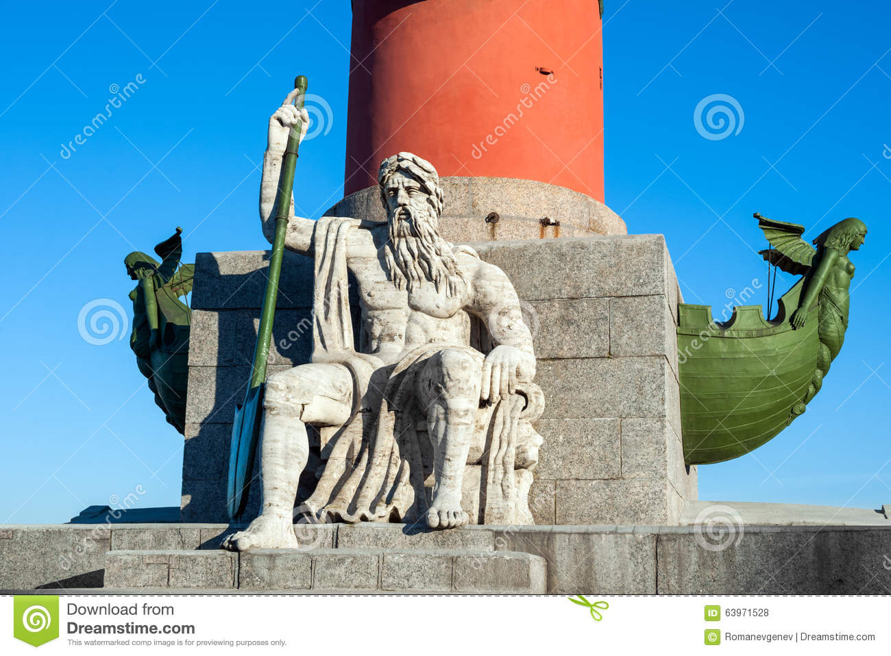 Rostral Column With Neptune Statue, St Petersburg, Russia Stock.