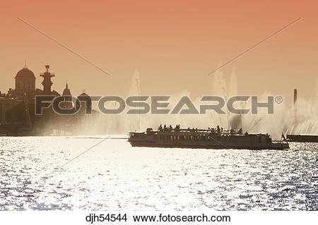 Stock Photo of Russia, St Petersburg, Neva River, Tourist Boat.