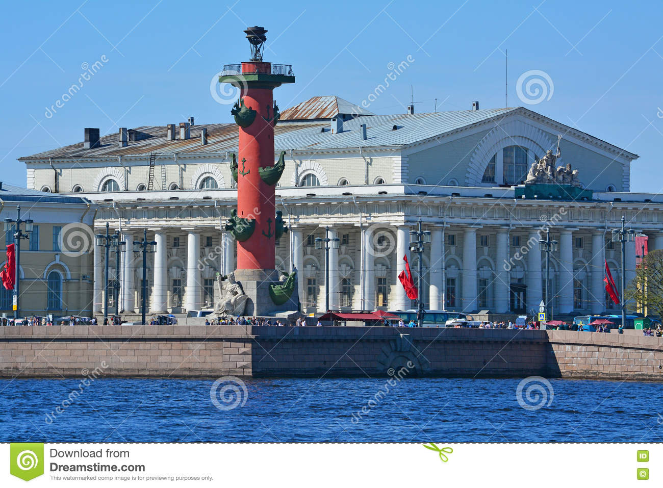 Rostral Column And Building Of The Exchange In St. Petersburg.