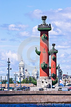Rostral Columns In St. Petersburg Royalty Free Stock Images.