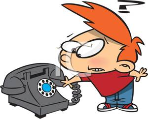 Colorful Cartoon of a Boy Puzzled By a Rotary Phone.