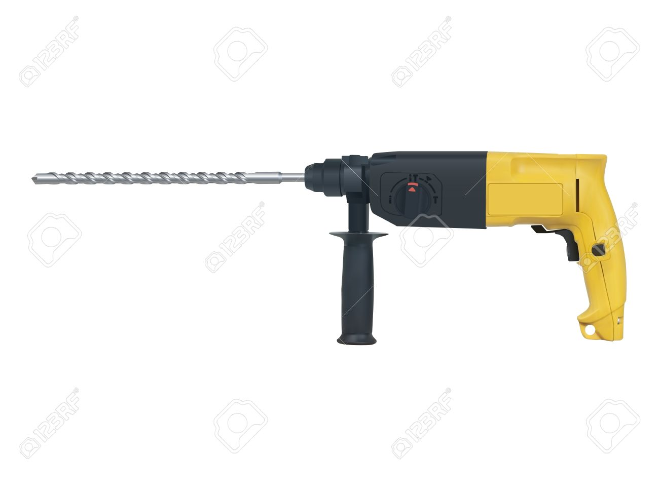 Rotary Hammer On A White Background Royalty Free Cliparts, Vectors.