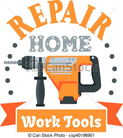 Vector Clipart of Building and repair tool badge with rotary.
