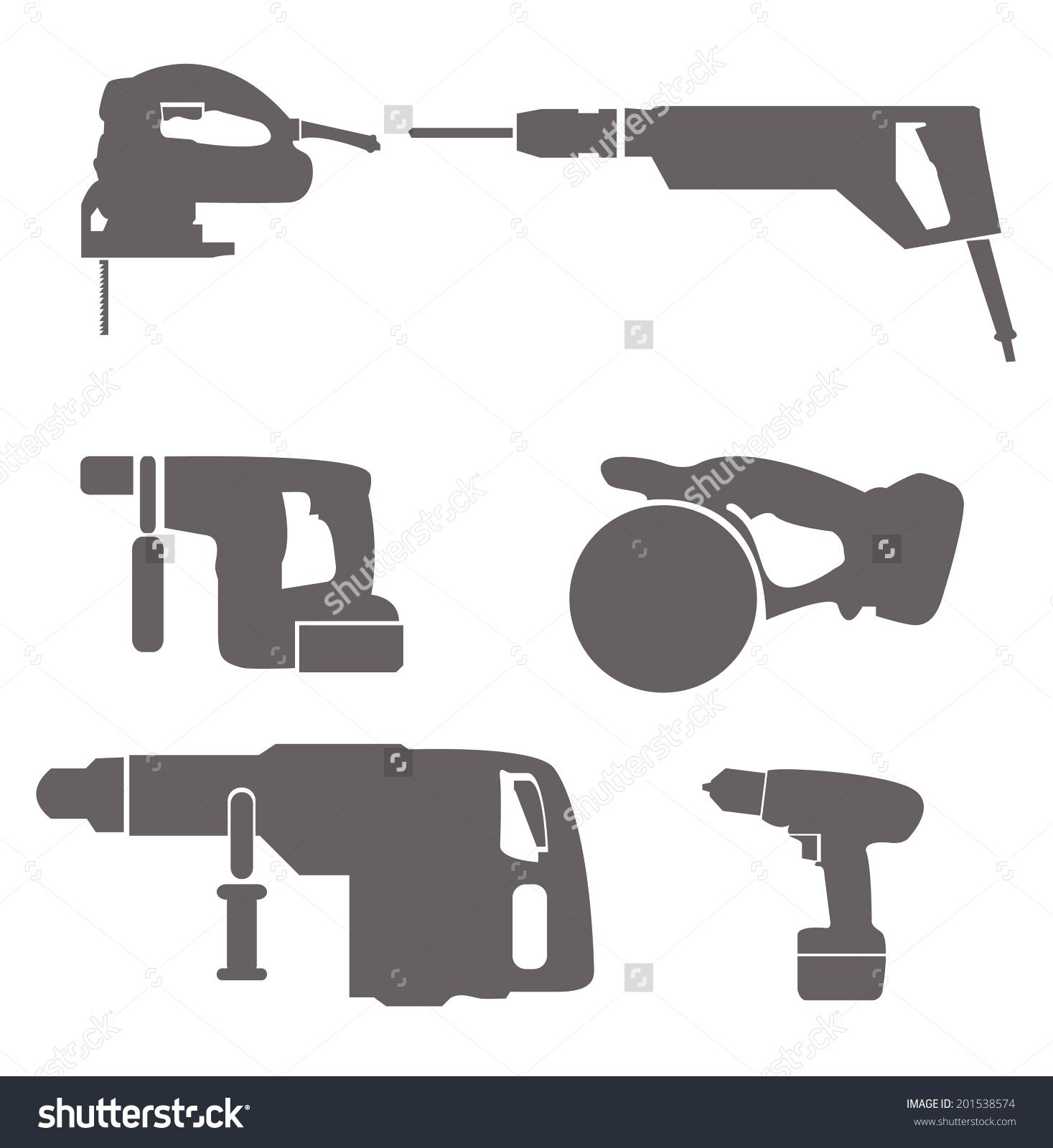 Electric Tools Circular Saw Jigsaw Drilldriver Stock Vector.