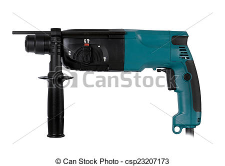 Picture of professional rotary hammer with a drill on white.
